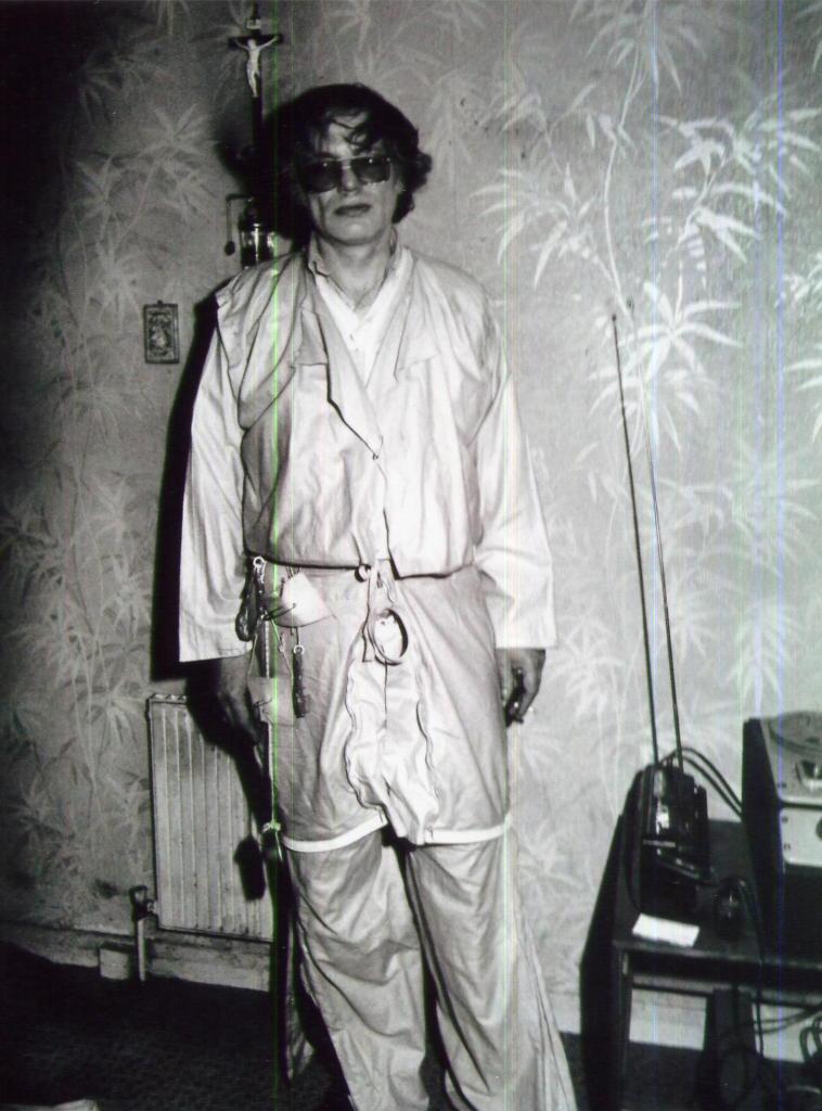 Hugh wearing his trouser coat, London, circa 1997