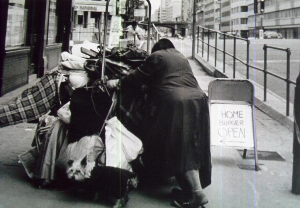 Street woman, Ludgate Circus London, circa 1997